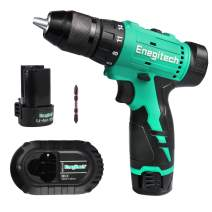 "Enegitech 12V Cordless Drill Driver Kit, 1/2"" Chuck Brushless Motor 20+1 Clutch Variable Speed Electric Power Tools with 2 x 2.0Ah Lithium-ion Battery 1 x Fast Charger 1 x Bit"