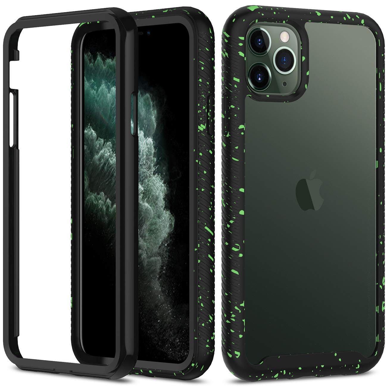 iPhone 11 Pro Max Case, Aeska [Shock Absorbent] Dual Layer Hybrid Shockproof Defender Heavy Duty Crystal [Clear] Hard Back Non-Slip Soft TPU Rubber Bumper Protective Case for iPhone 11 Pro Max (Black)
