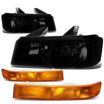 Pair of Smoked Housing Headlights Amber Bumper Lamps Replacement for Chevy Express GMC Savana 1500 2500 3500 4500 03-20