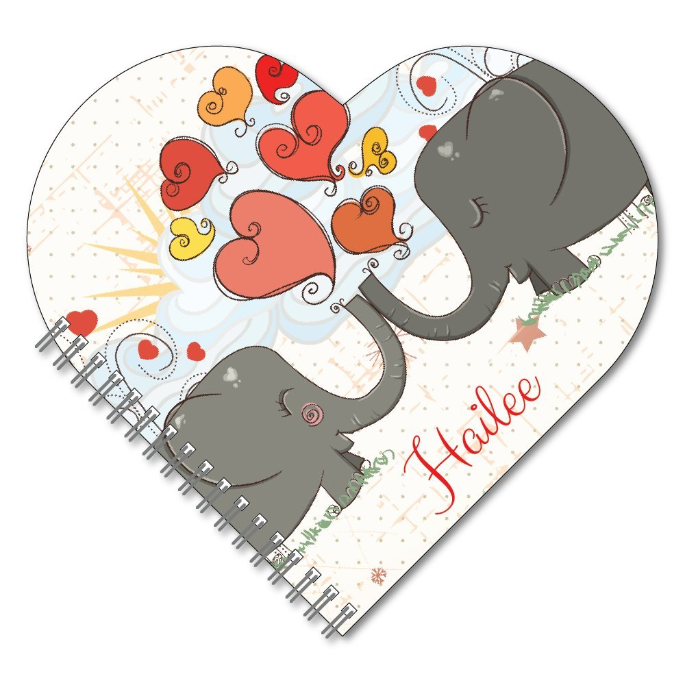 Elephant Kiss Personalized Heart-Shaped Spiral Notebook/Journal, 120 specialty lined or sketch pages, durable laminated cover, and wire-o spiral. Made in the USA.