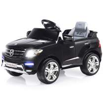 Costzon Ride On Car, Licensed Mercedes Benz ML350 6V Electric Kids Vehicle, 2WD Powered Manual/Parental Remote Control Modes Car with Microphone, Lights, MP3, USB, TF, Music, Horn for Kids (Black)