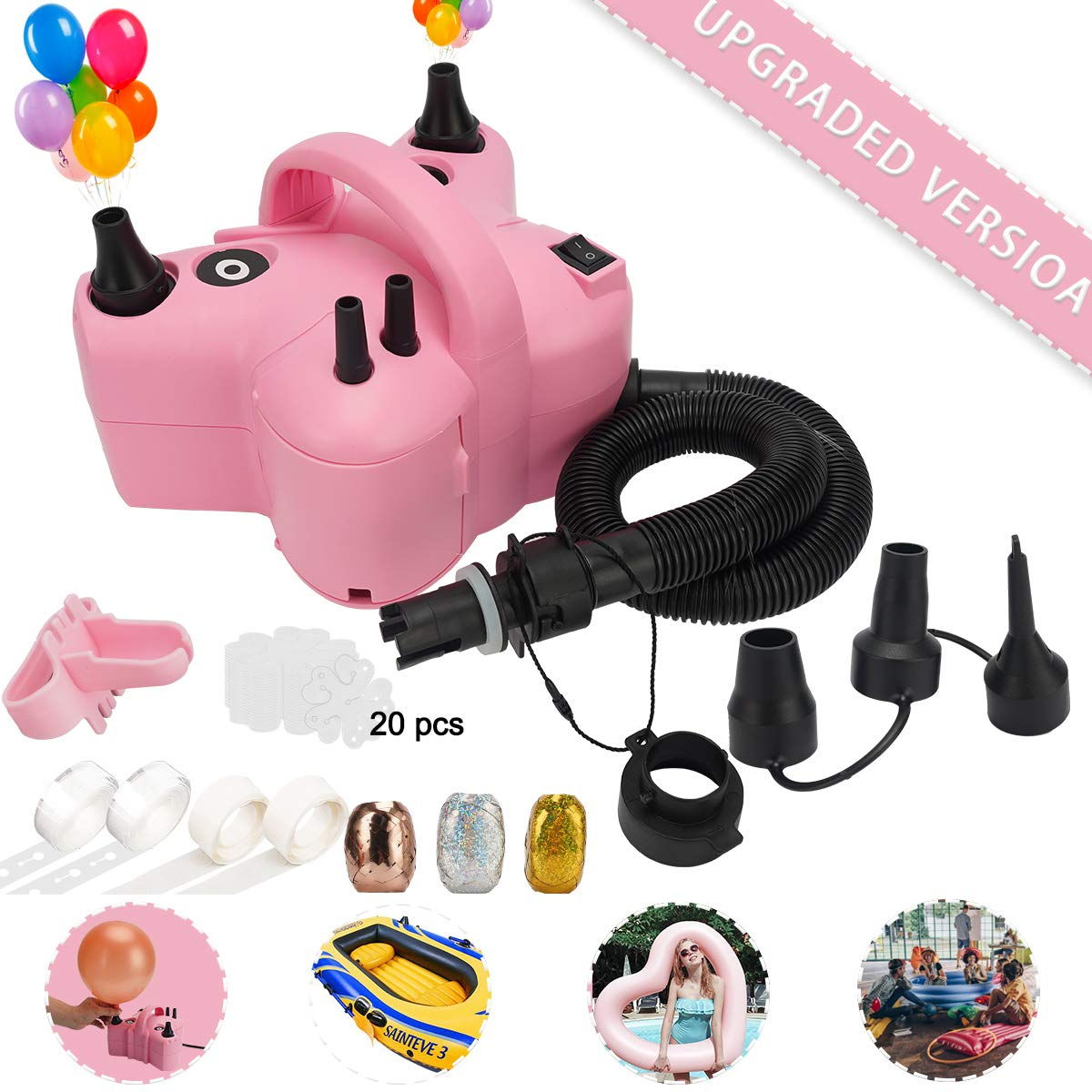 Portable 110V 600W Dual Nozzle Electric Balloon Blower Pump// Inflator Machine