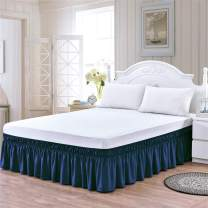 TSUTOMI Blue Bed Skirt Full Size Ruffled Bed Skirts,Blue,18 Inch Drop