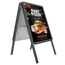 SnapeZo Black Sidewalk Sign A Board 24x36 Inches, Double-Sided Weather-Resistant Quick Change Snap Frame, 1.25 Inch Profile, Professional Series