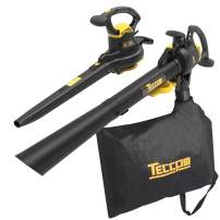 Leaf Blower Vacuum, TECCPO 12-Amp 250MPH 410CFM 3 in 1 Corded Electric Two-Speed Professional Sweeper/Vac/Mulcher, Metal Blade, Ideal for Lawn and Garden - TABV01G