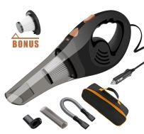 Car Vacuums, ANTEQI Portable Vacuum Cleaner High Power DC 12V Dry Handheld Vac with 16.4 Foot Long Cord & HEPA Filter, Storage Bag for Auto & Home (Black)