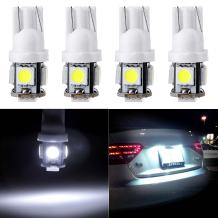 cciyu 194 Extremely Bright LED Bulbs T10-5-5050-SMD Light Lamp License Plate Light Lamp Wedge T10 168 2825 W5W White Pack of 4
