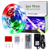 JUNWEN RGB LED Strip Lights Kit, Flexible 16.4ft/5M, Color Changing Rope Lights, Light Strip 150 Units SMD 5050 LEDs, Multi-Colors LED Ribbon Tape Lights, 44 Key RF Remote Controller