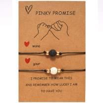2PCS Volcanic Stone Couples Bracelet for Women Men Anxiety Essential Oil Bracelet Promise Bracelet Gifts for Couples Lover Boyfriend Girlfriends
