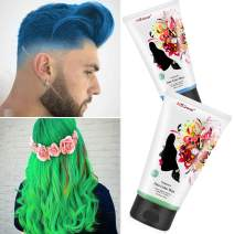 Unisex Temporary Modeling Hair Color Wax, Instant Hairstyle Mud Cream, Fashion DIY Hair Dye Cream for Party, Cosplay, Nightclub, Masquerade, Halloween (Blue+Green)