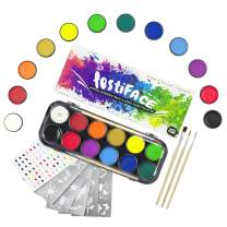 Face & Body Paint Kit for Adults & Kids | 12 Extra-Large Professional Colors by festiFACE | Includes 4 UV Black Light Neons, Stencils and Brushes in Gift Set | RRP $25.95