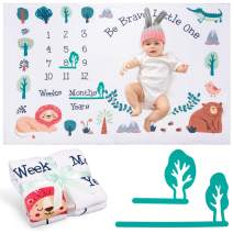 """Whaline Baby Monthly Milestone Blanket Soft Baby Growth Photo Blanket with 2 Tree Frames Forest Woodland Photo Prop Photography Backdrop for Newborn Boy or Girl Shower Gift (60""""x40"""")"""