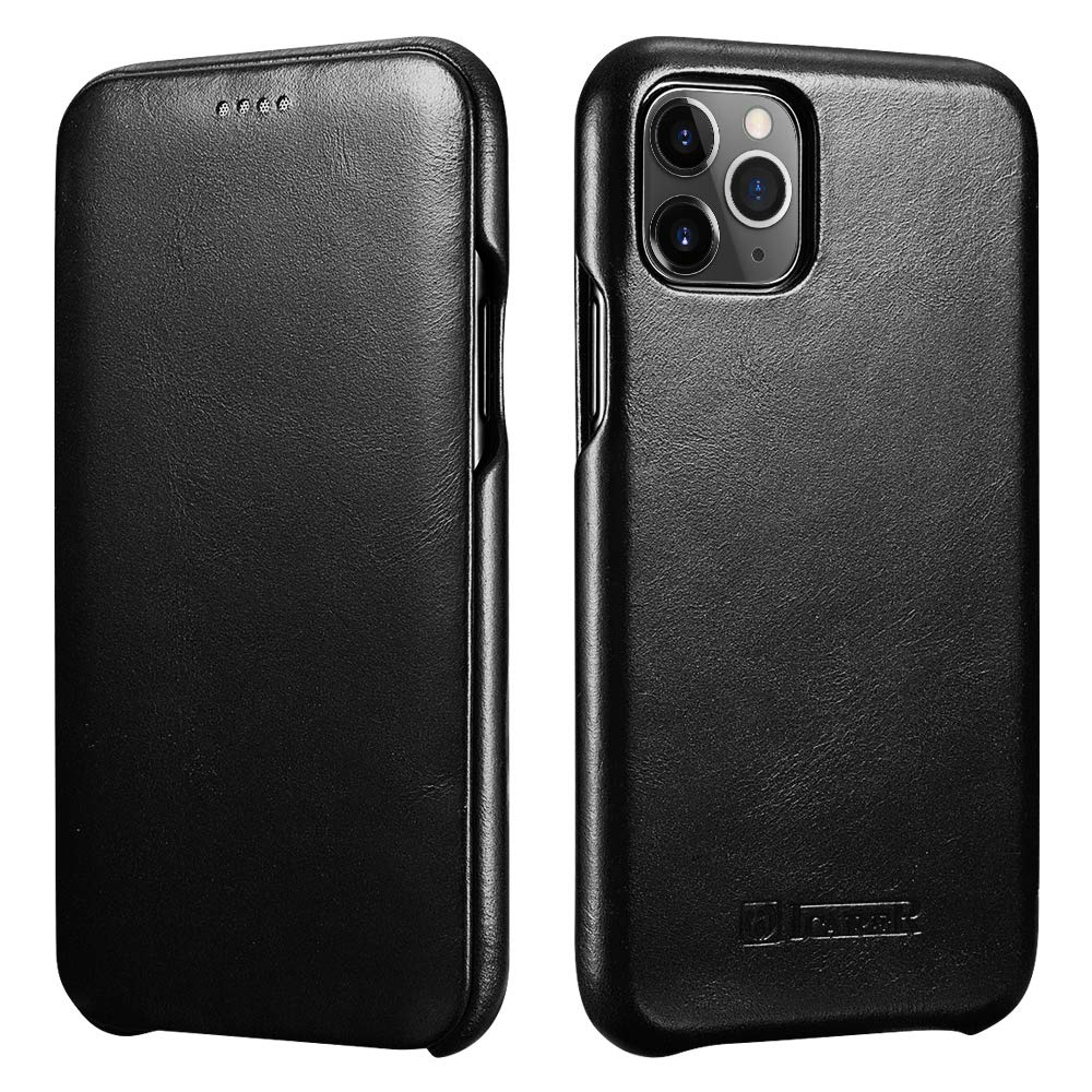 ICARER iPhone 11 Pro Max Leather Case,Genuine Leather Flip Folio Opening Cover in Curved Edge Design, Slim Thin Side Open Case for iPhone 11 Pro Max 6.5 Inch(Black)