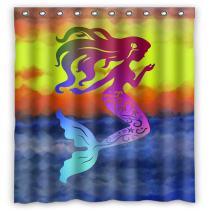 "GCKG Mermaid Ocean Sky Sea Shower Curtain 60"" x 72"" Waterproof Polyester Fabric Shower Curtain"