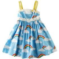 Sharequeen Rainbow White Cloud Printing Cotton White Lace Baby Kids Straps Dress Little Flower Child Frocks SQ9748 (Blue, 10-11 Years)