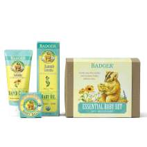 Badger - Essential Baby Gift Set, Baby Balm 0.75 oz, Baby Oil 4 fl oz & Zinc Oxide Diaper Cream 2.9 fl oz