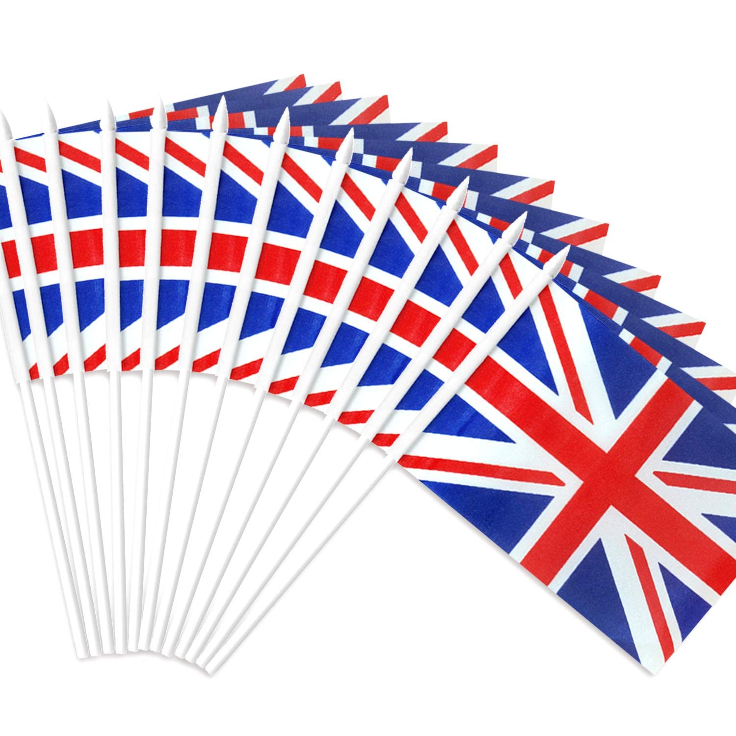 """Anley British Union Jack Stick Flag, Great Britain 5x8 inch Handheld Mini Flag with 12"""" White Solid Pole - Vivid Color and Fade Resistant - UK 5 x 8 inch Hand Held Flags with Spear Top (1 Dozen)"""