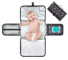 Portable Diaper Changing Pad with Built-in Head Cushion, Waterproof Travel Changing Mat with Smart Wipes Pocket, Perfect Baby Changing Station for Boys and Girls