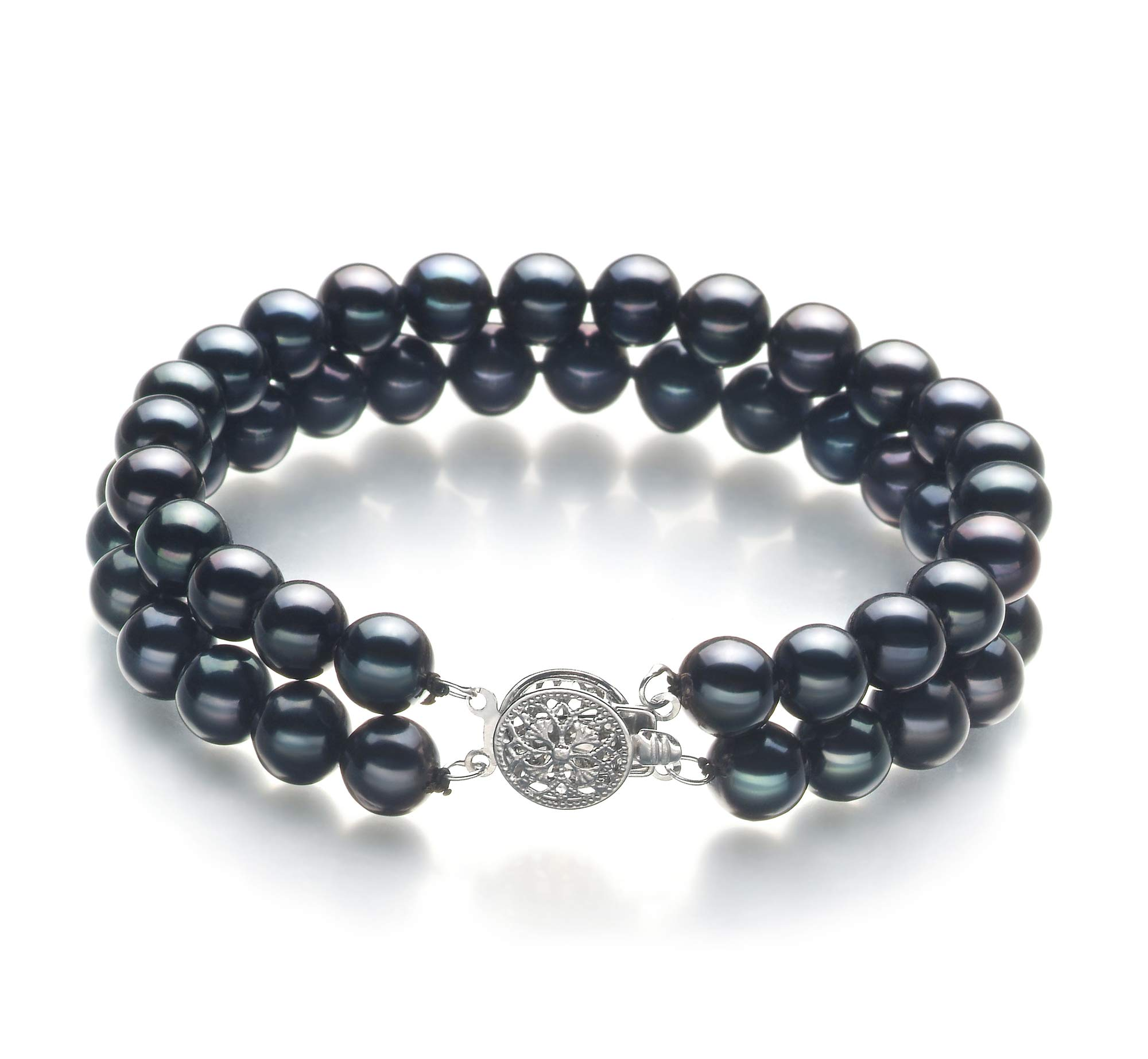 Henrike Black 6-7mm Double Strand AA Quality Freshwater 925 Sterling Silver Cultured Pearl Bracelet