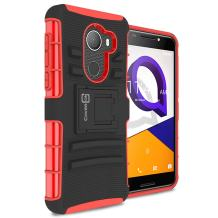 CoverON Kickstand Belt Clip Explorer Series for Alcatel A30 Plus / A30 Fierce/T-Mobile REVVL Holster Case, Red on Black