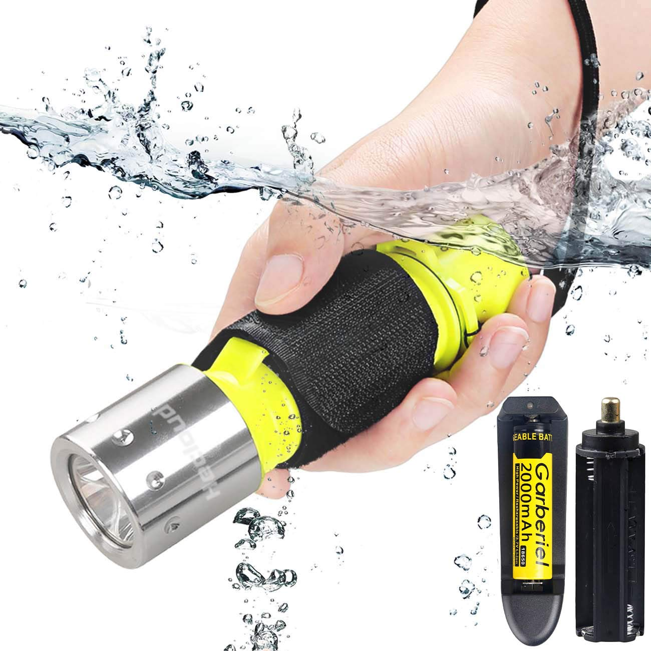 T6 Professional Diving Light Underwater Flashlights Waterproof Torch Scuba Diving Flashlight Included Battery and Charger