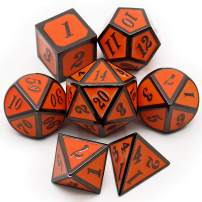 Haxtec Black Orange Metal DND Dice Set Dungeons and Dragons Pathfinder RPG Halloween Dice-Evil Pumpkin