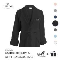 Luxor Linens Waffle Weave Spa Bathrobe - Ciragan Collection - Luxurious, Super Soft, Plush & Lightweight - 100% Egyptian Cotton, (Single Robe with Gift Packaging, No Monogram, Black)