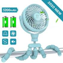 Portable Handheld Fan, 5200mAh Battery Operated Clip on Fan, Baby Stroller Fan with Flexible Tripod, Ultra Quiet, 4 Speed 360°Rotatable Personal USB Fan for Stroller/Car Seat/Golf Cart/Camping/(Blue)