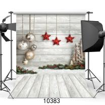 AIIKES 10X10FT Christmas Backdrops for Photography Wood Christmas Backdrop Vinyl Christmas Photo Backdrop Kids Christmas Photography Background Photo Booth Studio Props 10-383