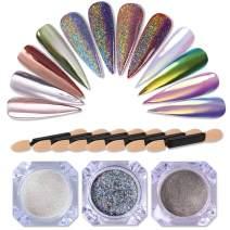 NICOLE DIARY 3 Boxes Holographic Laser Powder Neon Chameleon Pearl Mirror Nail Art Pigment Glitter Dust (0.5g/box) + 8 Pcs Eyeshadow Brush Makeup Brush Kit Replacement
