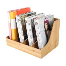 TQVAI Bamboo Desktop File Folder Holder 4 Compartments Workspace File Sorter Organizer, Original