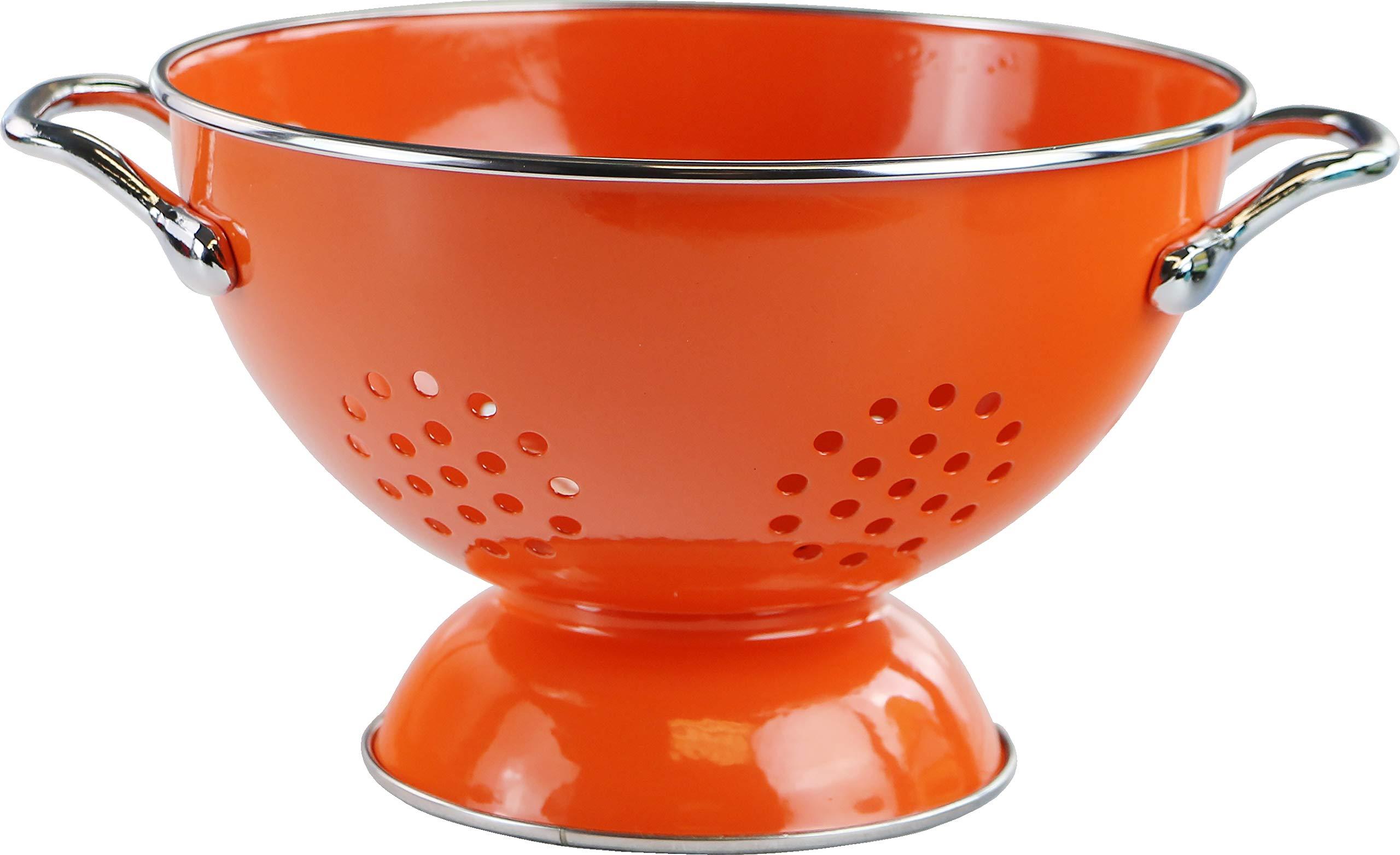 Calypso Basics by Reston Lloyd Powder Coated Enameled Colander, 1.5 Quart, Orange