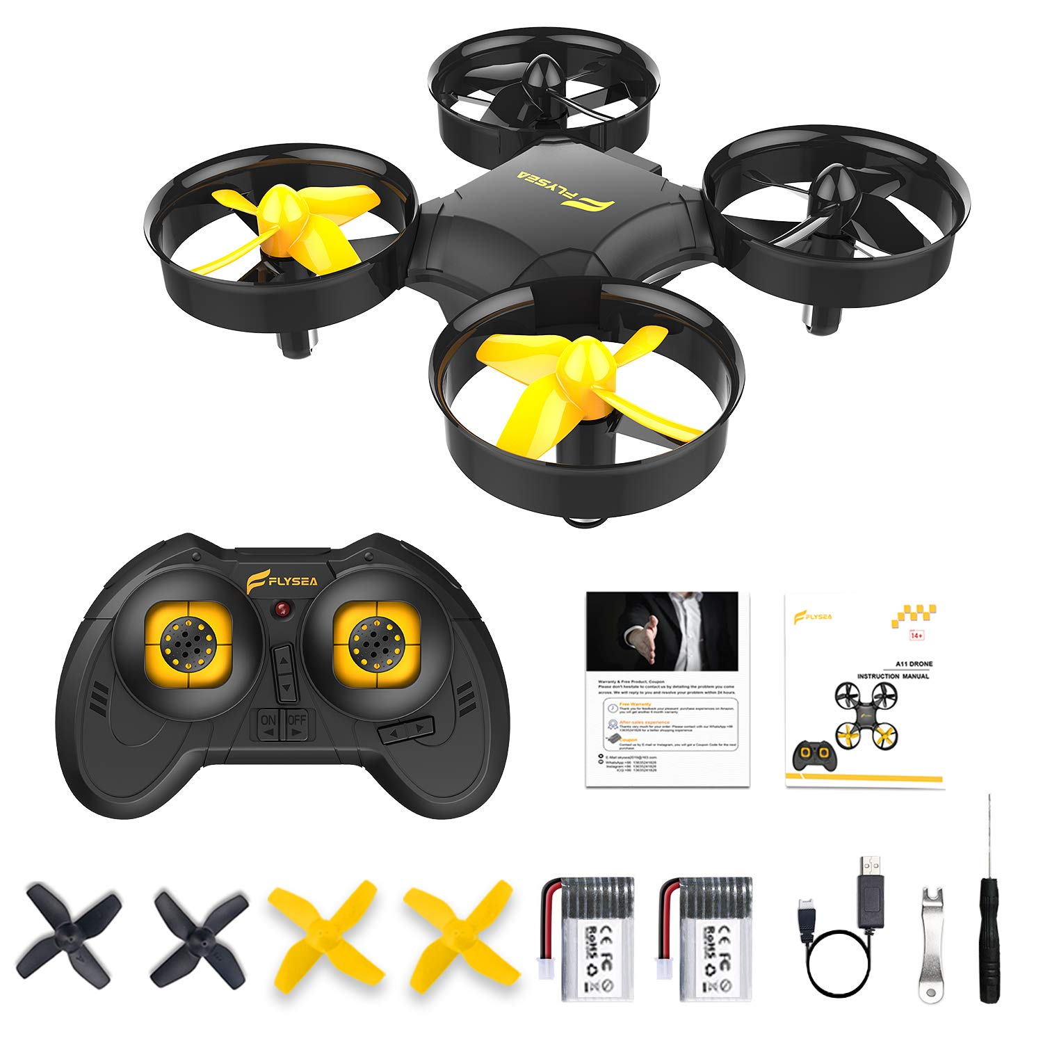 Flysea A11 Mini Drone for Kids/Beginners, RC Nano Quadcopter for Adult with w/Altitude Hold, 3D Flip, Headless Mode, 2 Batteries, Great Gift/Toys for Boys and Girls, Black