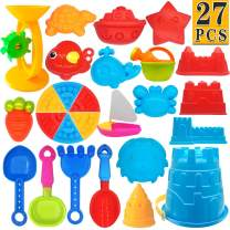 ToyerBee Beach Toys- 27 Pcs Sand Toys Set with Mesh Bag Including Sand Water Wheel, Bucket, Shovels, Rake, Sifter and Molds, Summer Outdoor Beach Sand Toys for Boys, Girls,Toddlers and Kids