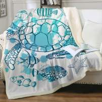 "Sleepwish 3D Printed Green Sea Turtle Sherpa Fleece Blanket Cute Tropical Fish Pattern Marine Fuzzy Throw for Couch Sofa Bed Throw Baby(30""x40"")"