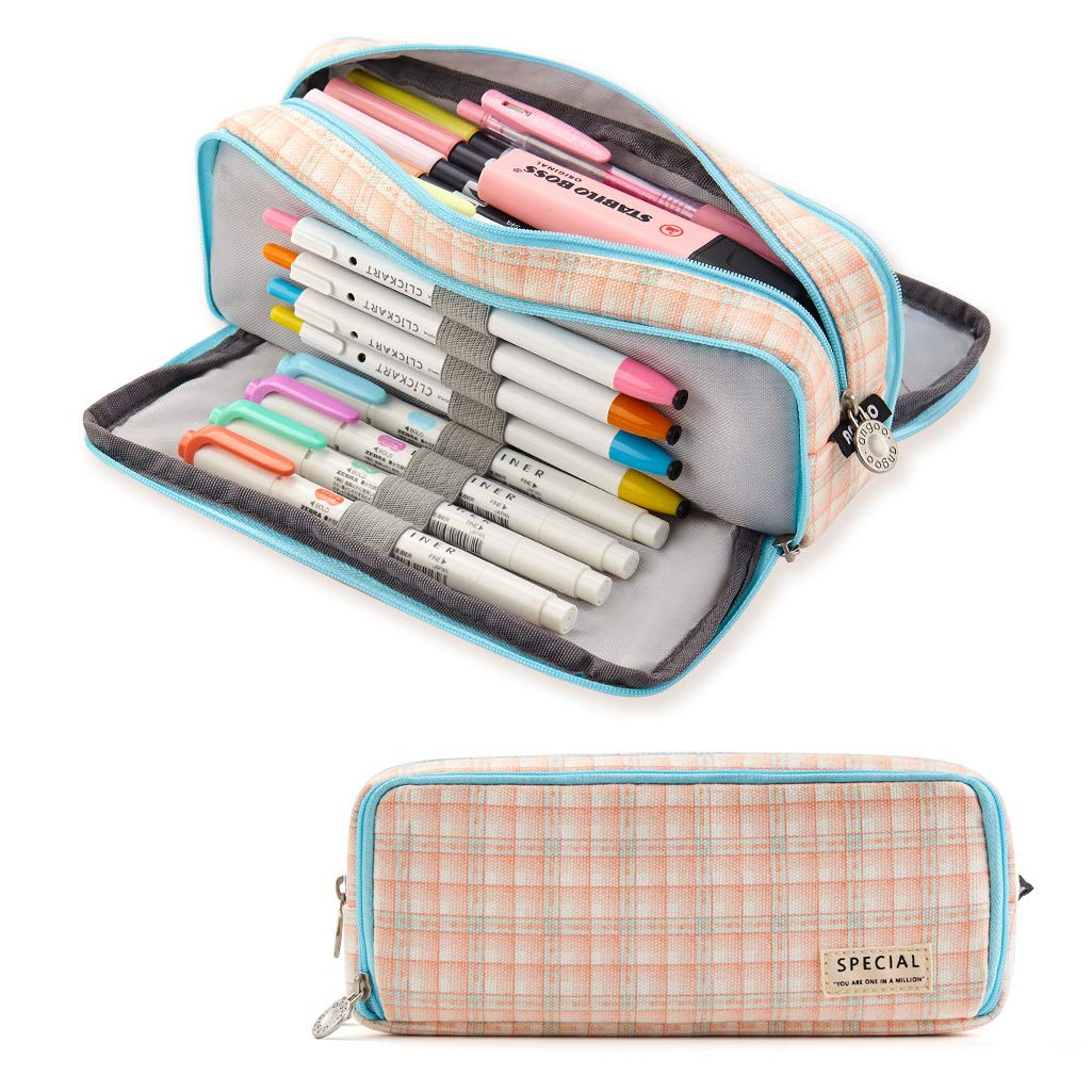 ANGOOBABY Large Pencil Case Big Capacity 3 Compartments Canvas Pencil Pouch for Teen Boys Girls School Students (Blue Strip Pink Grid)