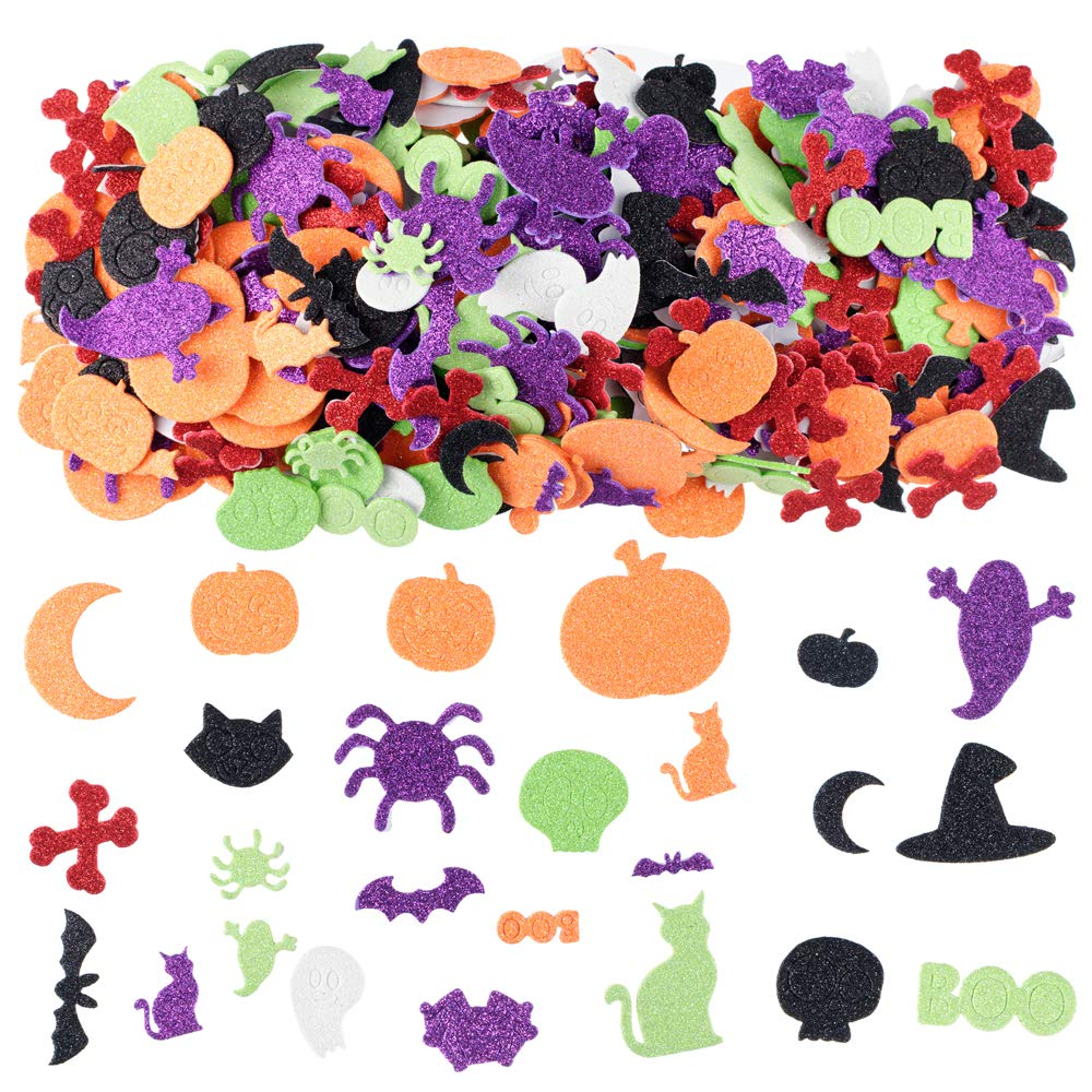 XADP 500 PCS Assorted Halloween Glitter Foam Craft Stickers Self-Adhesive Shapes Craft Supplies Scrapbooking Party Supplies Party Decoration Stickers for Kids