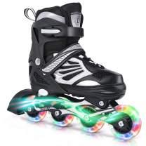 DIKASHI Black/Blue/Red Adjustable Inline Skates Boys Girls Kids Women Men Size,Light Up Adult Roller Blades Skates for Women Outdoor and Indoor