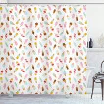 """Ambesonne Ice Cream Shower Curtain, Cartoon Doodle Style Creamy Delicious Diary Desserts with Various Flavors, Cloth Fabric Bathroom Decor Set with Hooks, 70"""" Long, Blush Cream"""