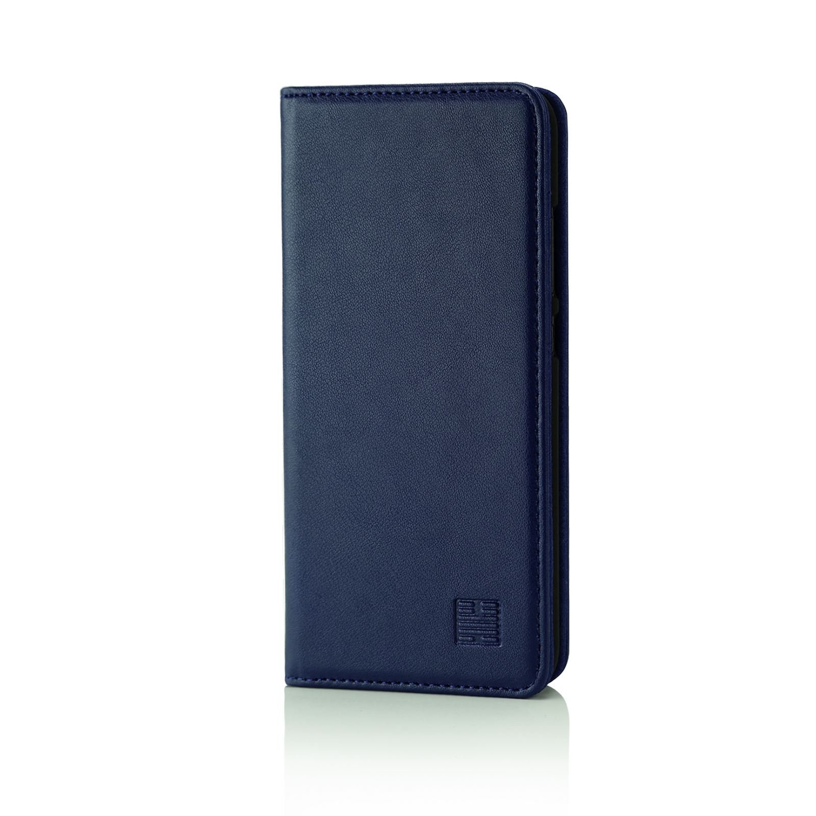 32nd Classic Series - Real Leather Book Wallet Case Cover for Huawei P10, Real Leather Design with Card Slot, Magnetic Closure and Built in Stand - Navy Blue