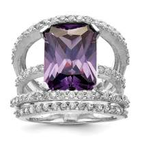 925 Sterling Silver Purple Clear Cubic Zirconia Cz Band Ring Fine Jewelry For Women Gift Set