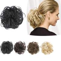 PrettyWit Hairpieces Short Curly Hair Extension Fluffy Messy Hair Bun Updo Hair Piece Wig Scrunchy Bridal-Black 1