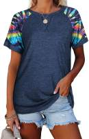 Women's Raglan Short Sleeve Crewneck T-Shirt Color Block Tunic Tshirt Casual Loose Blouses Tops
