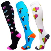 3 Pairs Compression Socks for Women&Men (20-30mmHg) -Best for Running, Travel,Cycling,Nurse,Pregnant (Multicoloured - 3, Large/X-Large)