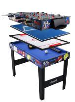 IFOYO Multi Function 4 in 1 Combo Game Table, Steady Pool Table, Hockey Table, Soccer Foosball Table, Table Tennis Table, Ideal for Kids, 31.5x18.9x23.6 Inches