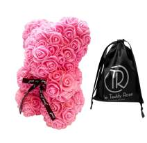 The Teddy Rose-10 Inches Pink Rose Teddy Flower Bear with Logo Bag Graduation Gift, Flowers for Valentine's Day, Mother's Day, Graduation, Christmas, Anniversary, Birthday, Wedding, Baby Shower