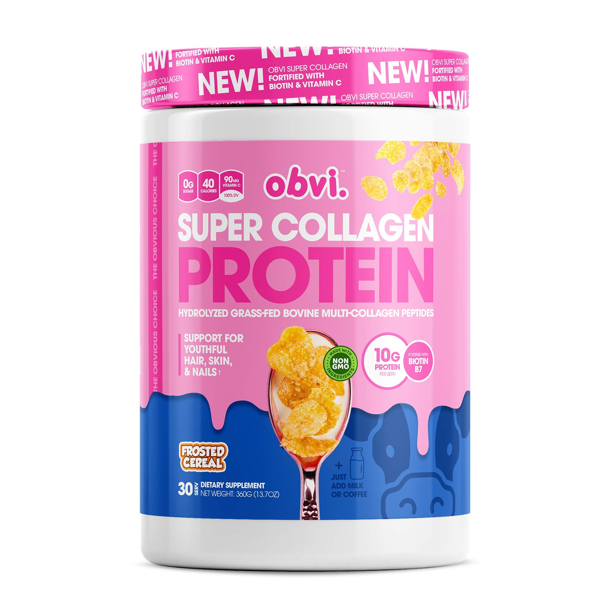 Obvi Multi-Collagen Super Protein Powder, Keto-Friendly, Gluten and Dairy Free, Hydrolyzed Grass-Fed Bovine Collagen Peptides, Supports Gut Health, Healthy Hair, Skin, Nails (Frosted Cereal, 14 Oz)