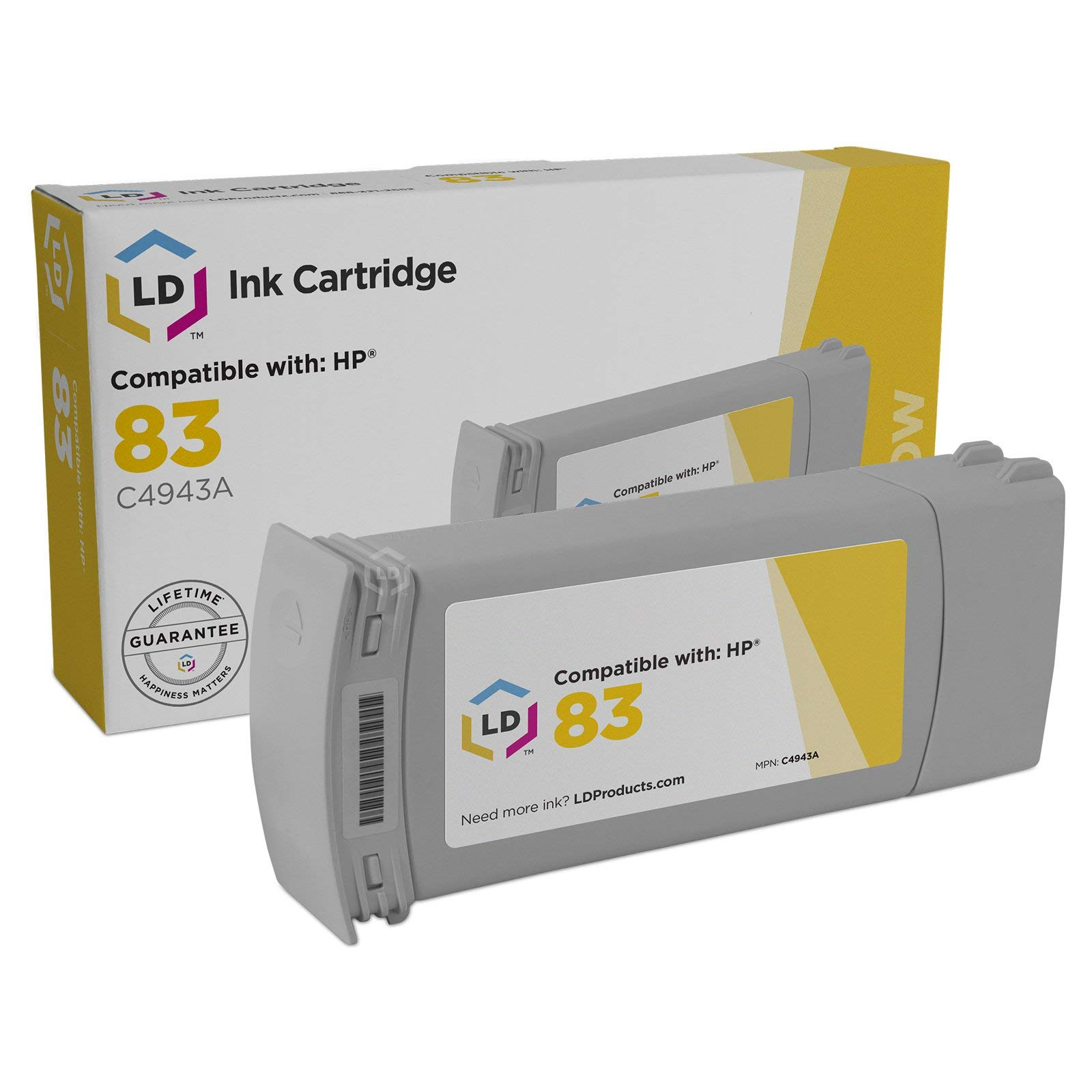 LD Remanufactured Ink Cartridge Replacement for HP 83 C4943A (Yellow)