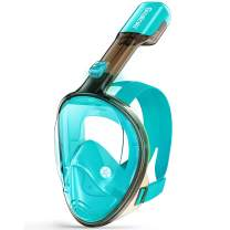 Greatever G1 Snorkel Mask Foldable Panoramic View Full Face Snorkeling Mask with Detachable Camera Mount, Dry Top Set Anti-Fog&Anti-Leak, for Adults&Kids