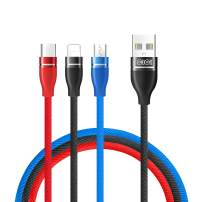 Multi Charger Cable, 3 in 1 Nylon Braided Multi USB Cable for iOS Micro and Type-C Charges 3 Phone at Same time, 1.2meter(4FT) Long, 2.5 A Output Charging Cable